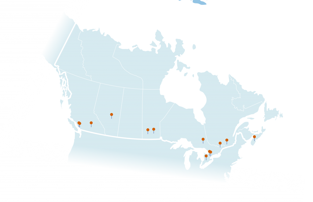 YELLOWSTONE clinical trial sites in Canada map